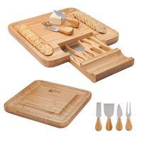 315768942-184 - Lorenzi 4 Piece Bamboo Cheese Tray - thumbnail