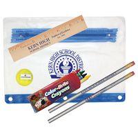 "351586360-819 - Clear Translucent Pouch School Kit w/ 2 Pencils, 6"" Ruler, Crayon, Sharpener - thumbnail"