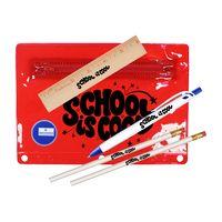 "512135337-819 - Premium Translucent Pouch School Kit (2 Pencils, 6"" Ruler, Pen & Sharpener) - thumbnail"