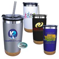 906453258-819 - 20 Oz. Halcyon® Cork Bottom Tumbler with Stainless Straw/Flip Top Lid (Full Color Digital) - thumbnail