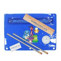 "932867682-819 - Premium Translucent School Kit w/ 2 Pencils, 6"" Ruler, Eraser & Sharpener (Full Color Digital) - thumbnail"