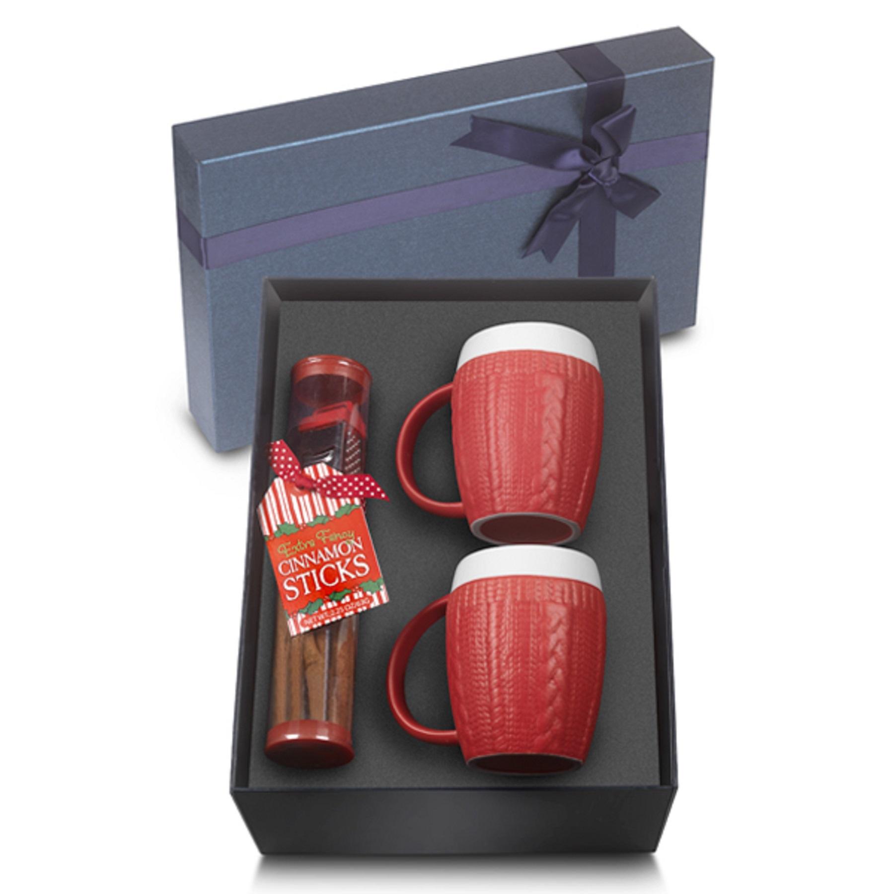 574939830-202 - Two Set 12 Oz. Matte Ceramic Sweater Mugs w/ Cinnamon Sticks - thumbnail
