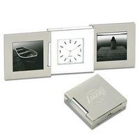 53941504-114 - Tri-Beca Fold Up Desk Clock w/ Two End Frame - thumbnail