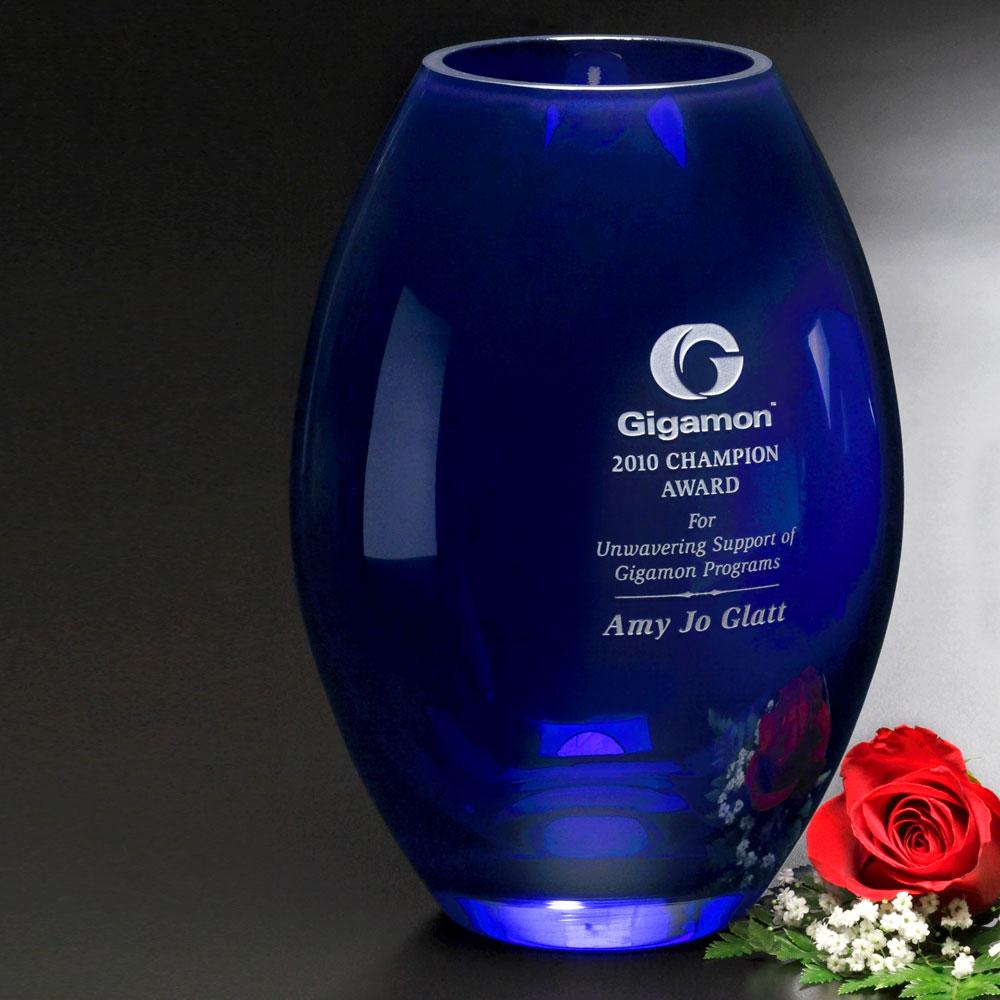 """133388627-133 - Cobalt Barrel Vase 10-1/2"""" - thumbnail"""