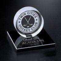 "391124004-133 - Hockey Puck on Black Glass Base 3-3/8"" - thumbnail"