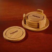 544490265-116 - Round Bamboo Coaster Set - thumbnail