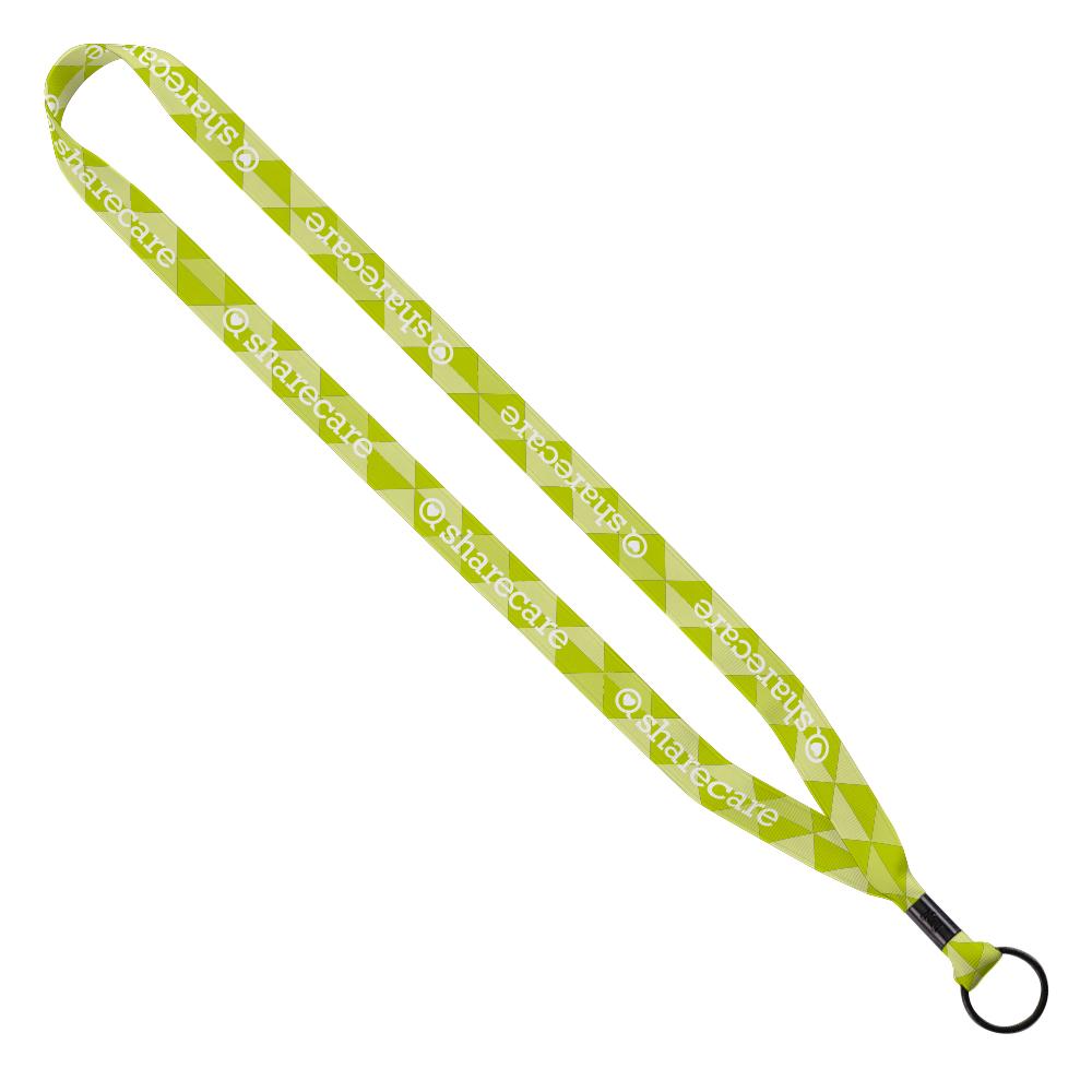 """785322432-190 - 5/8"""" Tubular Polyester Dye Sublimated Lanyard w/Metal Crimp & Metal Split Ring - thumbnail"""
