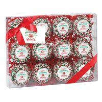 375179317-153 - Elegant Chocolate Covered Printed Oreo Gift Box - Holiday Sprinkles/Printed Cookies (12 pack) - thumbnail