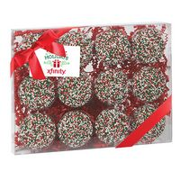 544167822-153 - Elegant Milk Chocolate Covered Oreo Cookie Gift Box with Holiday Nonpareils (12 pieces) - thumbnail