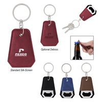175489987-816 - Leatherette Bottle Opener Key Ring - thumbnail