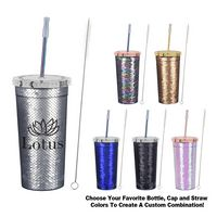386044943-816 - 24 Oz. Sequin Tumbler with Park Avenue Straw - thumbnail