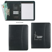 922815533-816 - Leather Look Zippered Portfolio With Calculator - thumbnail