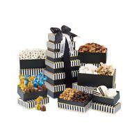 705774615-112 - Elegant Gourmet Sweet & Savory Tower - Black and White Stripe - thumbnail
