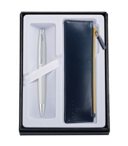 115514404-126 - Calais™ Satin Chrome Ballpoint Pen w/Midnight Blue ZIP Pouch - thumbnail