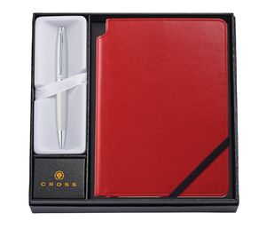 385514393-126 - Calais Satin Chrome Ballpoint Pen w/ Medium Crimson Journal - thumbnail