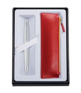 515514405-126 - Calais™ Satin Chrome Ballpoint Pen w/Crimson ZIP Pouch - thumbnail