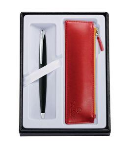 945514411-126 - ATX® Basalt Black Ballpoint Pen w/Crimson ZIP Pouch - thumbnail