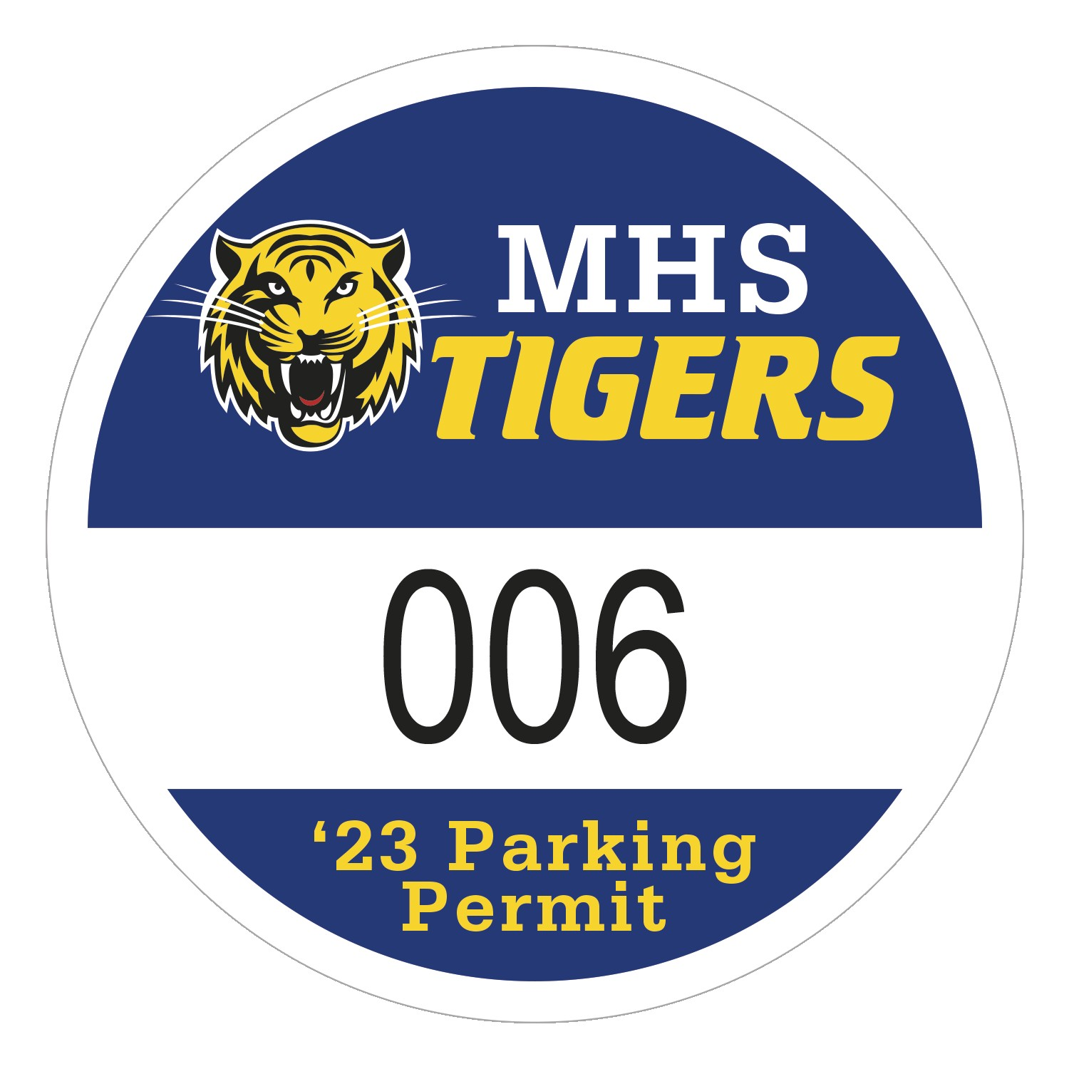 "115932482-183 - Round White Vinyl Numbered Outside Parking Permit Decal (2 1/2"" Diameter) - thumbnail"