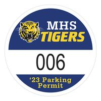 """115932482-183 - Round White Vinyl Numbered Outside Parking Permit Decal (2 1/2"""" Diameter) - thumbnail"""