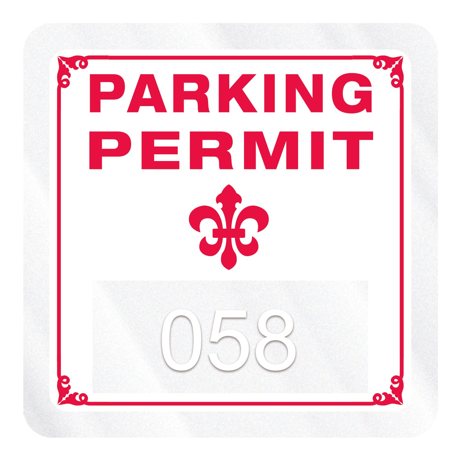 "185932472-183 - Square Clear Polyester Numbered Inside Parking Permit Decal (1 3/4""x1 3/4"") - thumbnail"