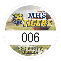 """345932495-183 - Round White Vinyl Full Color Numbered Outside Parking Permit Decal (2 1/2"""" Diameter) - thumbnail"""
