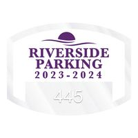 """385932470-183 - Curved Rectangle Clear Polyester Numbered Inside Parking Permit Decal (1 1/2""""x2"""") - thumbnail"""