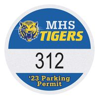 "515932483-183 - Round White Reflective Numbered Outside Parking Permit Decal (2 1/2"" Diameter) - thumbnail"