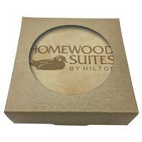 555048398-183 - Set of 4 Natural Leather Coasters w/ Natural Kraft Box - thumbnail
