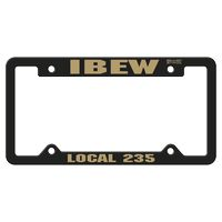765880763-183 - Black Auto License Frame w/ 4 Holes & Large Top Panel - thumbnail