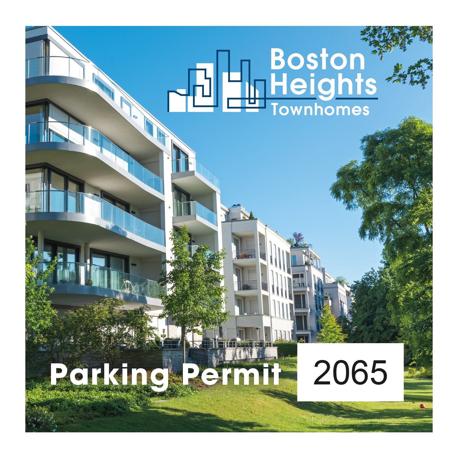"785489555-183 - Square White Vinyl Full Color Outside Parking Permit Decal (3""x3"") - thumbnail"