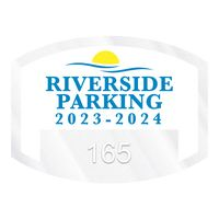 """785932471-183 - Curved Rectangle Clear Static Numbered Inside Parking Permit Decal (1 1/2""""x2"""") - thumbnail"""