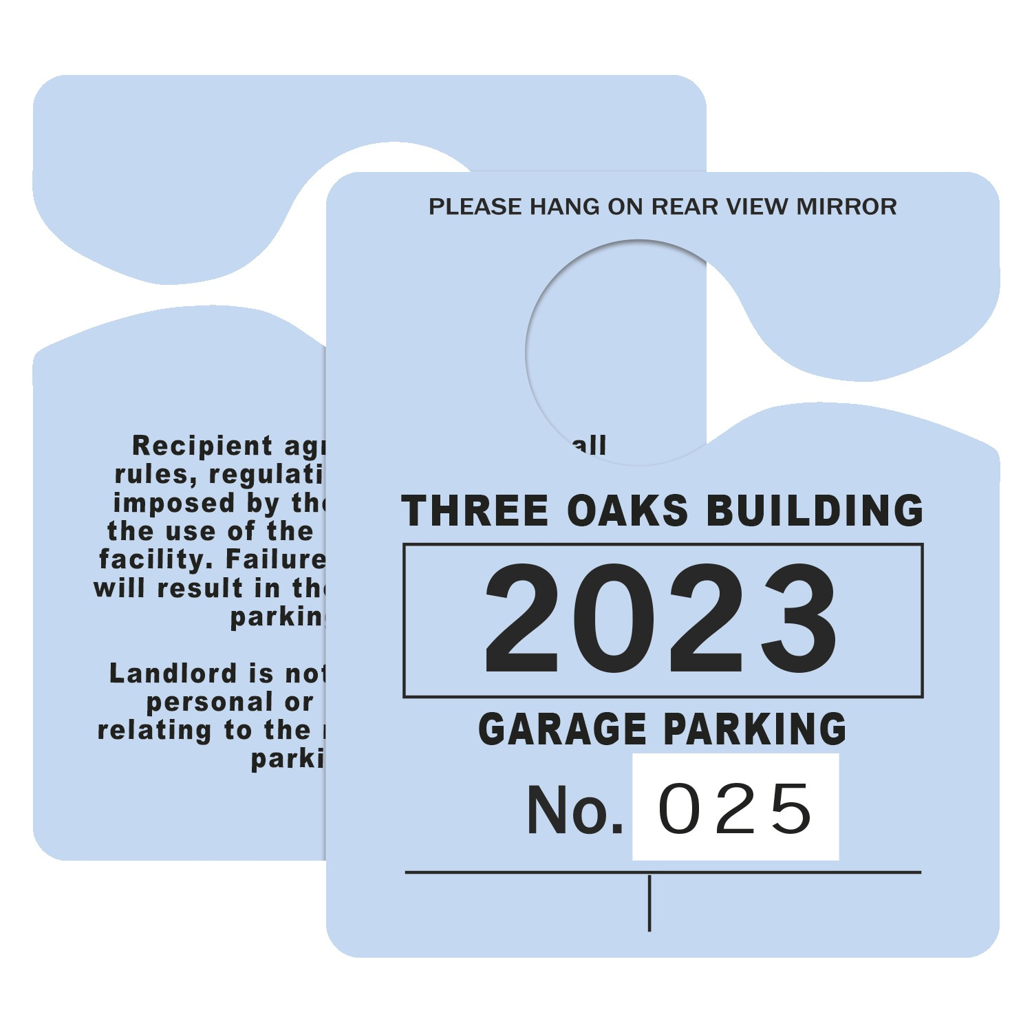 "795932441-183 - Plastic 23 pt. Numbered Hanging Parking Permit (3""x3 1/2"") - thumbnail"