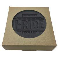 955048399-183 - Set of 4 Black Leather Coasters w/ Natural Kraft Box - thumbnail