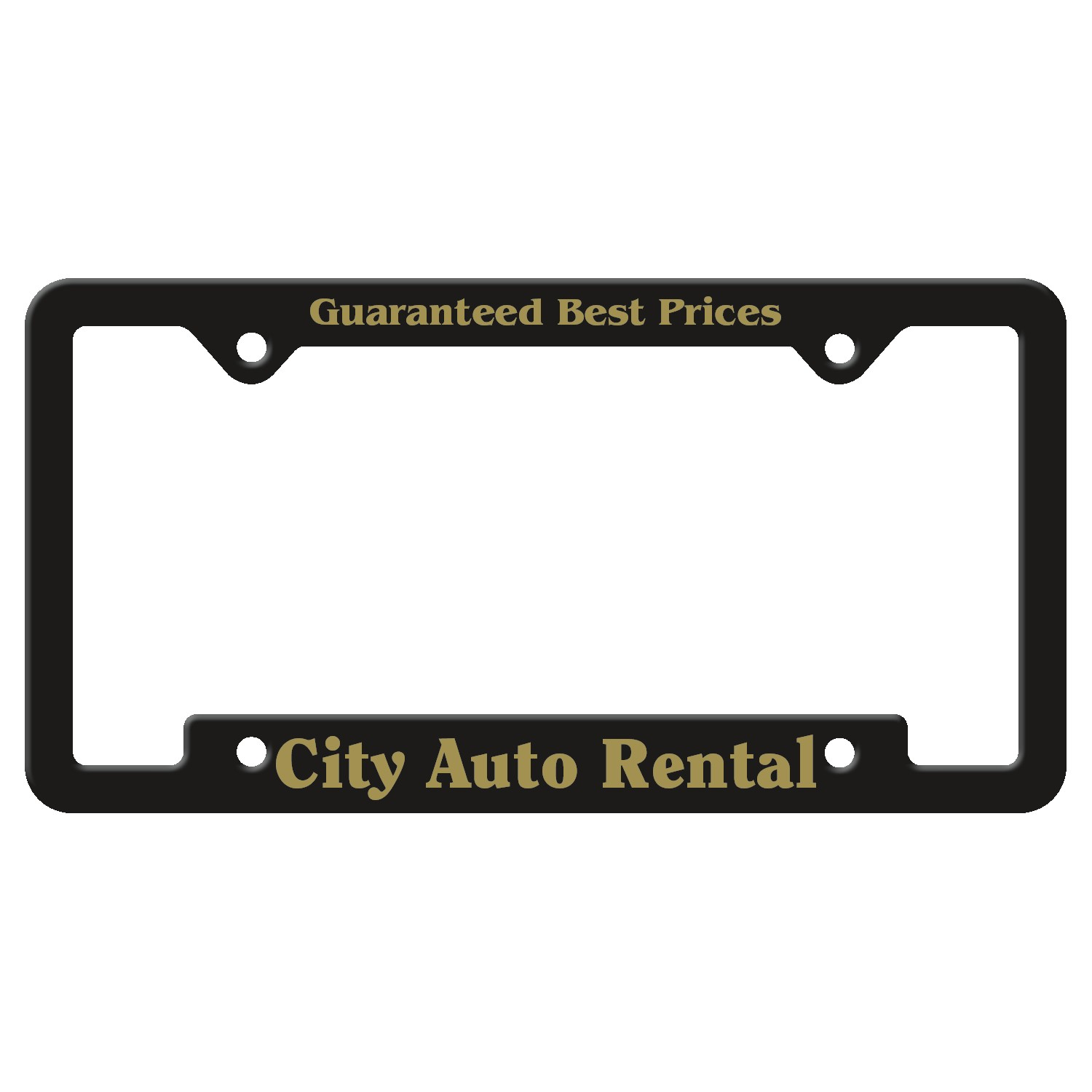 965880761-183 - Black Auto License Frame w/ 4 Holes & Large Bottom Jutted Panel - thumbnail