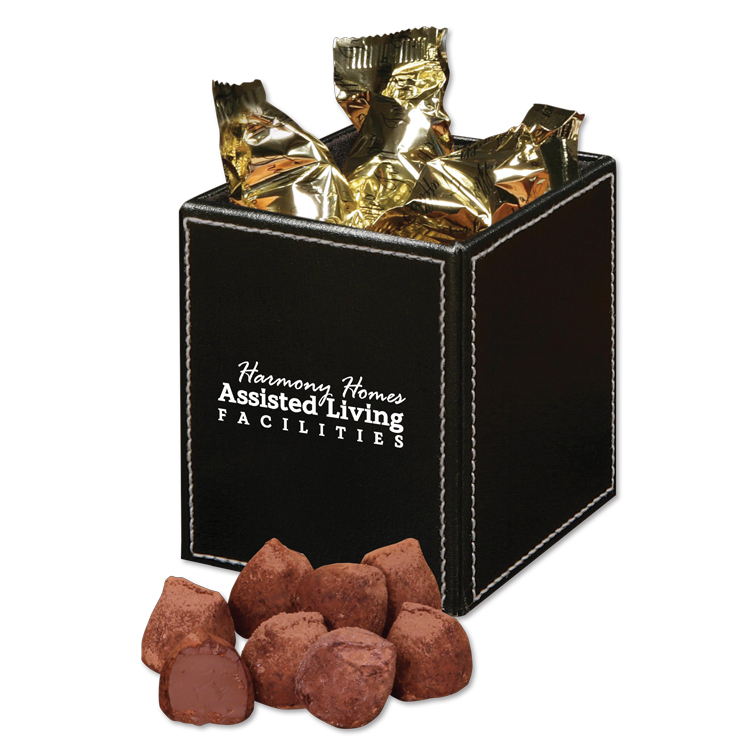 174694516-117 - Faux Leather Pen & Pencil Cup with Cocoa Dusted Truffles - thumbnail