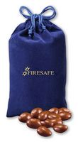 755373511-117 - Chocolate Covered Almonds in Blue Velour Gift Bag - thumbnail