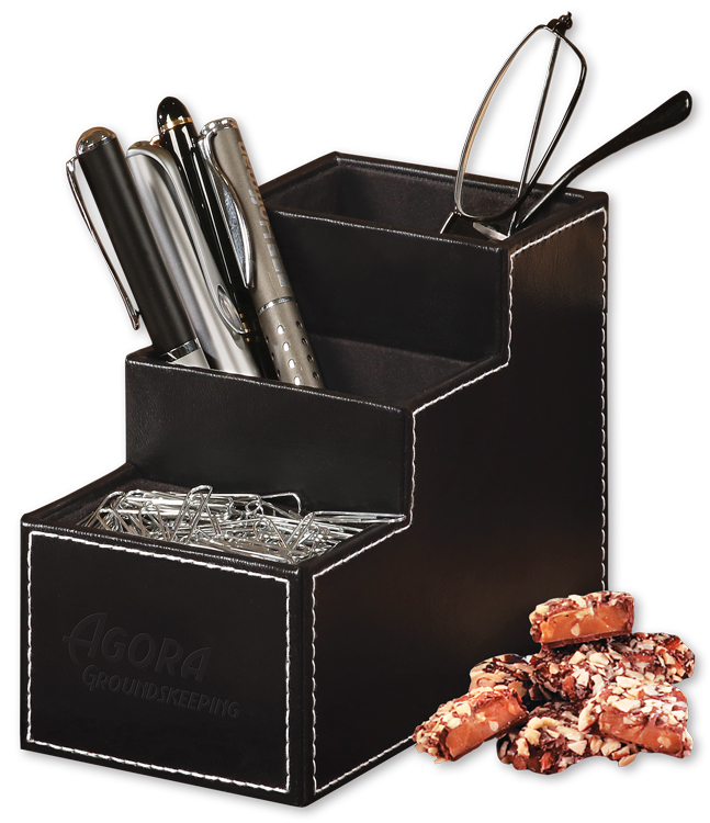 994828095-117 - Faux Leather Desk Organizer with English Butter Toffee - thumbnail