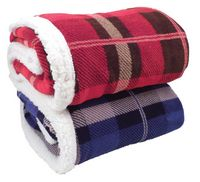 104493759-814 - Lambswool Microsherpa Plaid Throw - thumbnail