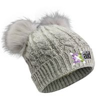 106089733-814 - Cable Knit Beanie W/Fur Pom Ears - thumbnail