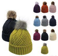 165483571-814 - Cross Hatch Beanie With Faux Fur Pom - thumbnail