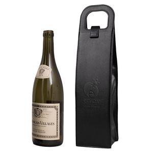 356524980-142 - Vegan Leather Wine Bottle Tote - thumbnail