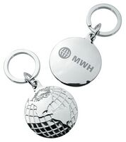 371586508-142 - Globe Disc Silver Keychain - thumbnail