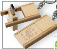 393299149-142 - Kayu Wood USB Flash Drive w/ Keychain (256 MB) - thumbnail